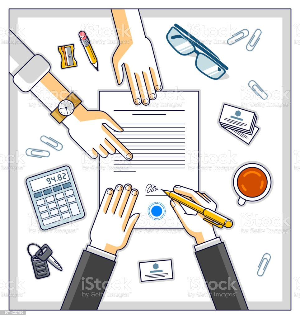 Geschäftsmann Zeichen Papierdokument Oder Bank Vertragskunde ...