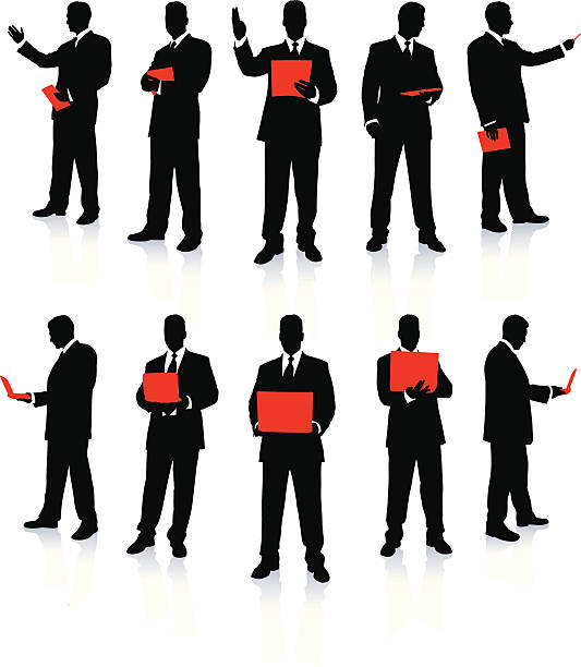 stockillustraties, clipart, cartoons en iconen met businessman silhouette collection - in de camera kijken