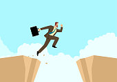 Simple flat vector illustration of a businessman jumps over the ravine. Challenge, obstacle, optimism, determination in business concept
