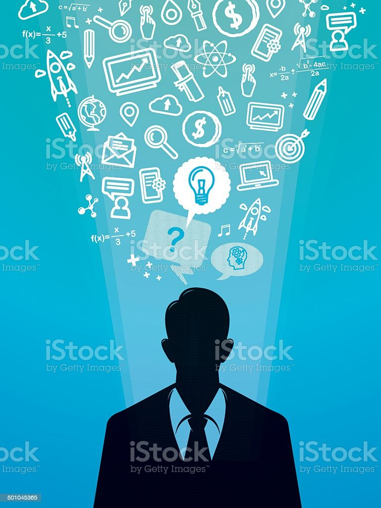 Businessman silhouette with business icons royalty-free stock vector art