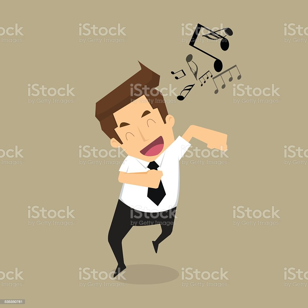 businessman singing vector art illustration