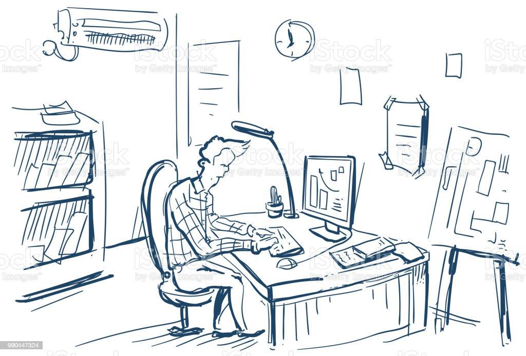 Geschaftsmann Sitzen Im Buro Schreibtisch Finanzanalyse Und Graphen