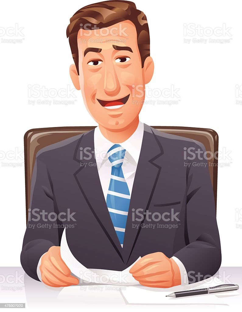 Businessman Sitting At Desk vector art illustration