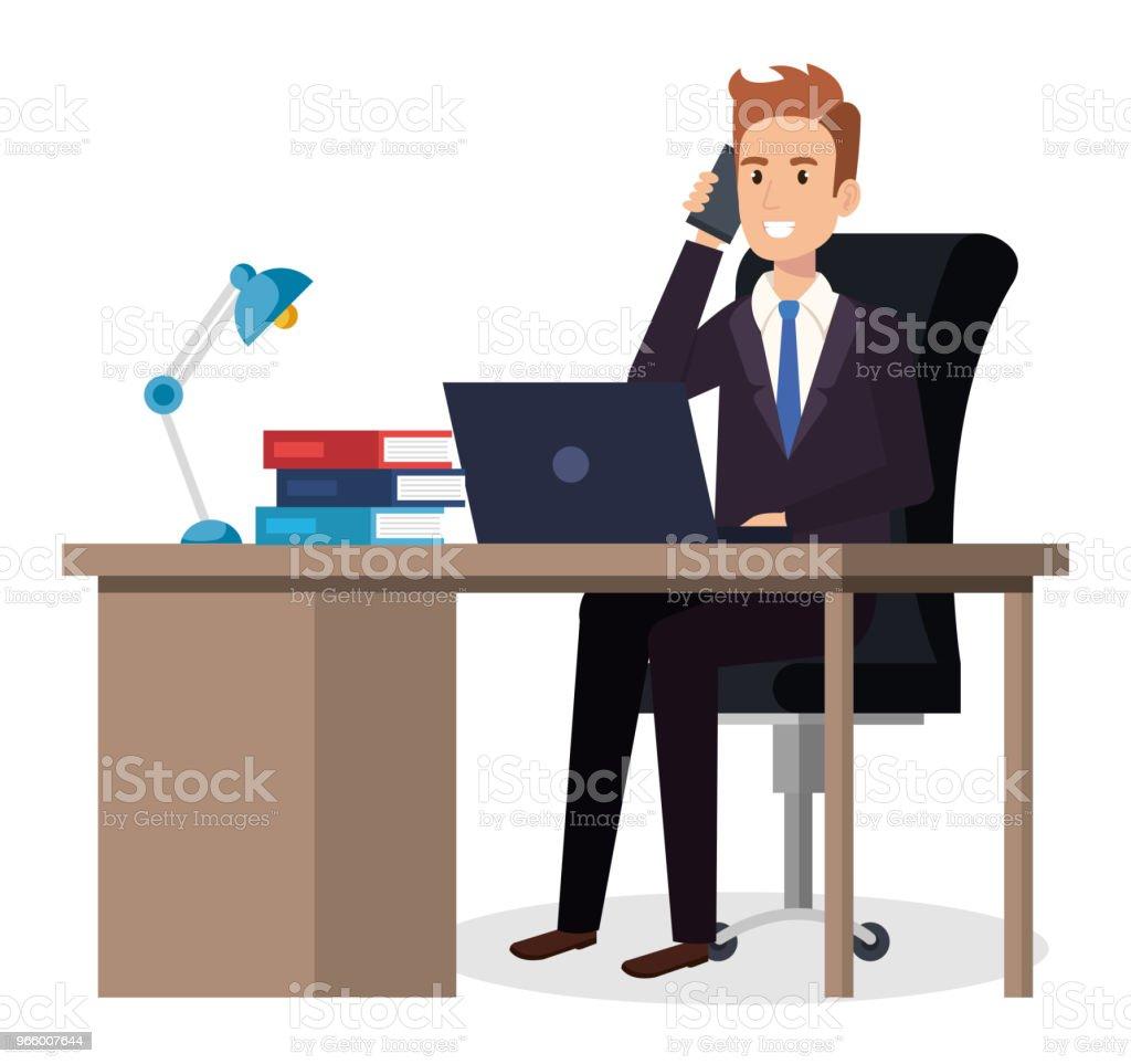zakenman zitten in het kantoor - Royalty-free Alleen volwassenen vectorkunst
