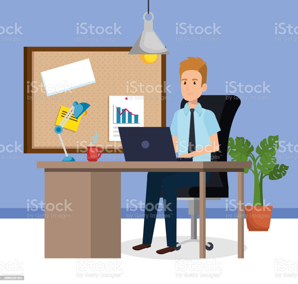 businessman sitting in the office - Royalty-free Adult stock vector