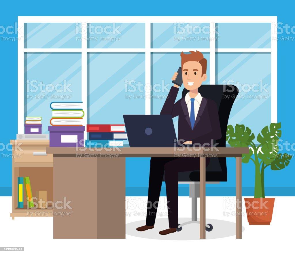 Geschäftsmann, sitzen im Büro - Lizenzfrei Am Telefon Vektorgrafik