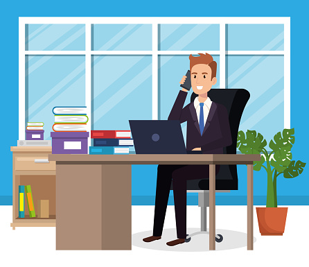 Geschäftsmann Sitzen Im Büro Stock Vektor Art und mehr Bilder von Am Telefon