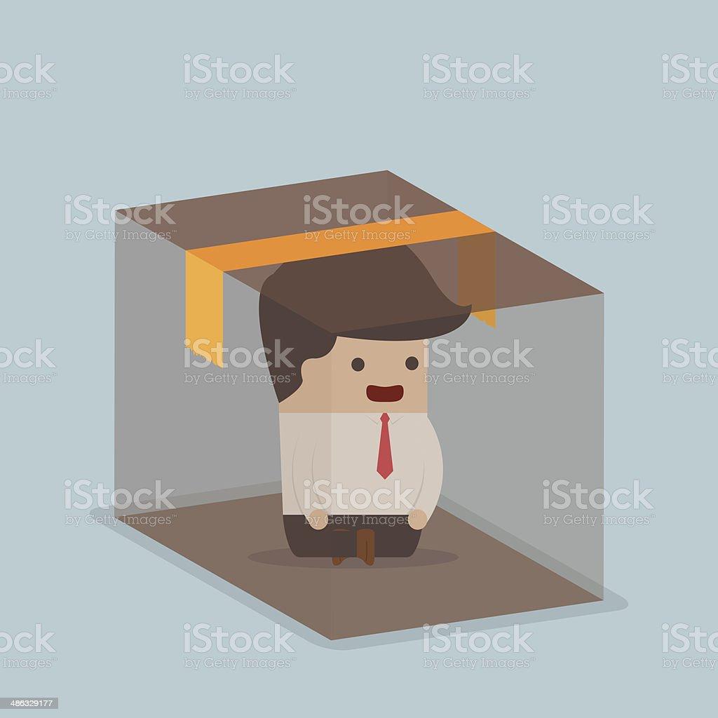 Businessman sitting inside the box vector art illustration