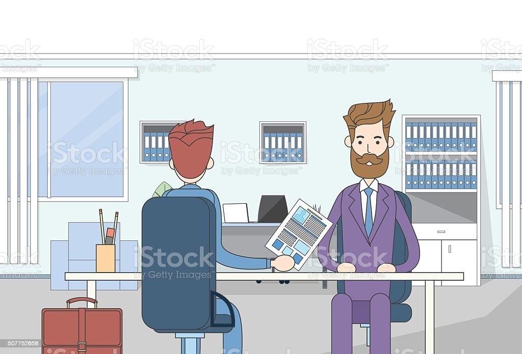 Ilustración de Ejecutivo Sentado Escritorio De Trabajo Entrevista ...