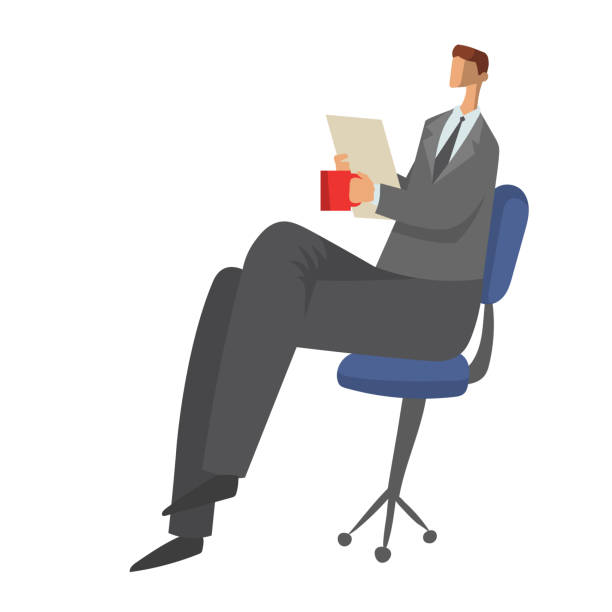 businessman sitting on a chair with paper documents in his hands and drinking tea or coffee. character vector illustration isolated on white background. - old man sitting chair clip art stock illustrations, clip art, cartoons, & icons