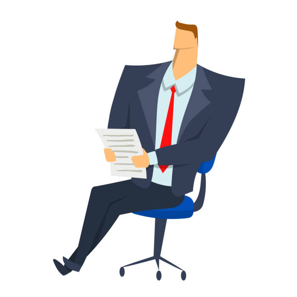 businessman sitting on a chair with paper documents in his hands. character vector illustration isolated on white background. - old man sitting chair clip art stock illustrations, clip art, cartoons, & icons