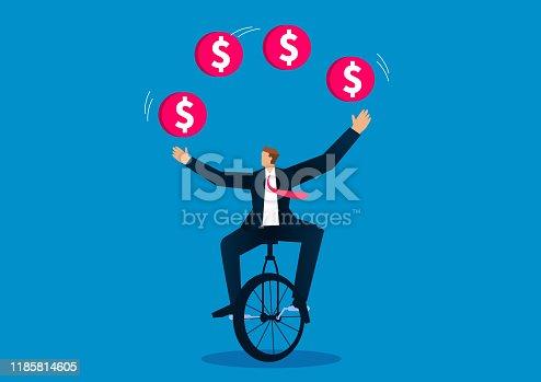 Businessman sitting on a wheelbarrow playing acrobatics