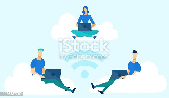istock Businessman Sitting on Clouds with Laptops Flat. 1176837782