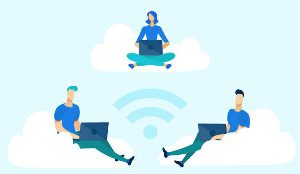 Businessman Sitting on Clouds with Laptops Flat.