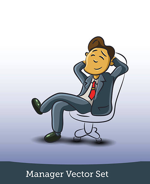 businessman sitting on office chair - old man sitting chair clip art stock illustrations, clip art, cartoons, & icons