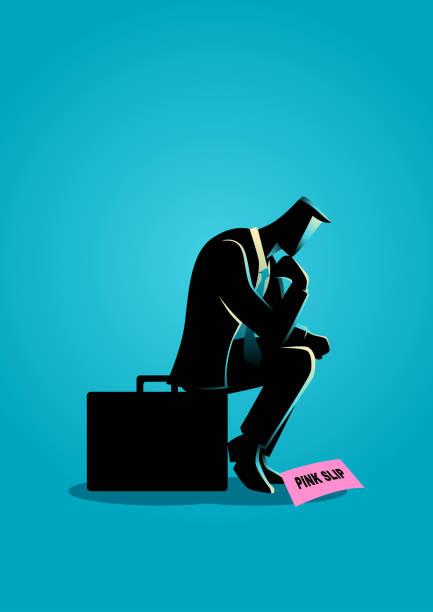 businessman sitting on suitcase sadly - unemployment stock illustrations