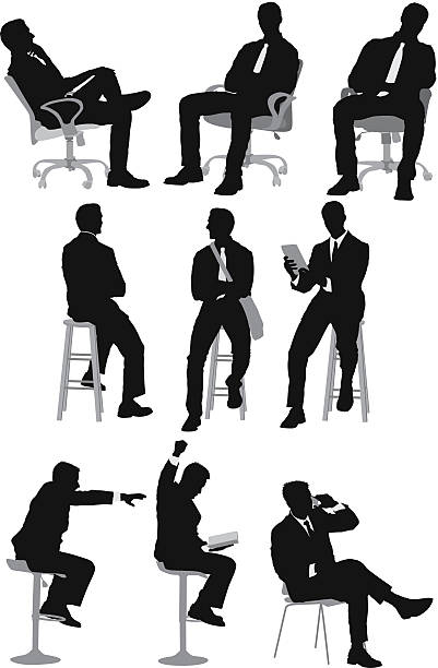 stockillustraties, clipart, cartoons en iconen met businessman sitting - overhemd en stropdas
