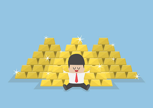 Businessman sitting with a pile of gold bars Businessman sitting with a pile of gold bars, gold market, successful business, wealth concept ingot stock illustrations
