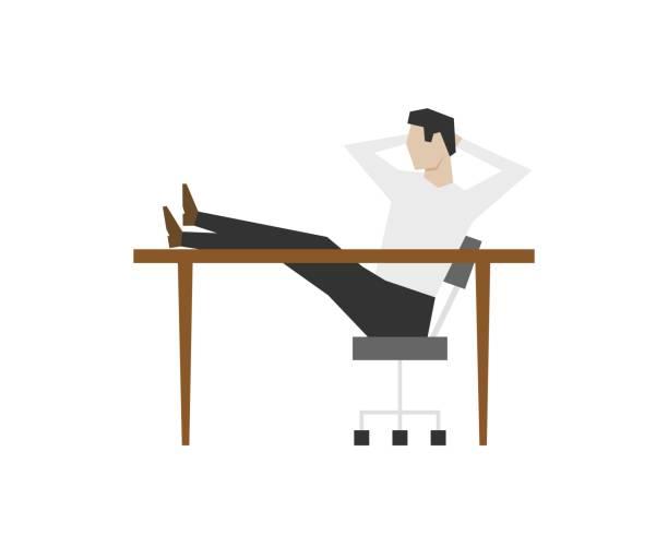 商人坐在桌子上,雙腳在桌子上向量藝術插圖