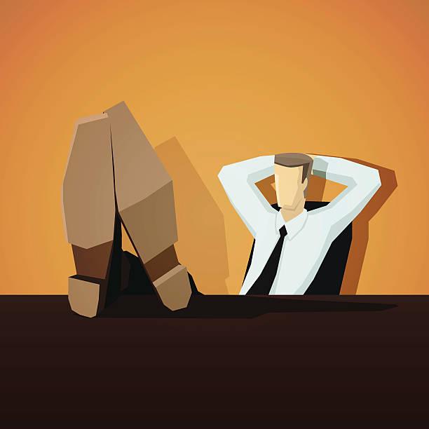 geschäftsmann, sitzen mit seiner füße auf den tisch - möbelfüße stock-grafiken, -clipart, -cartoons und -symbole