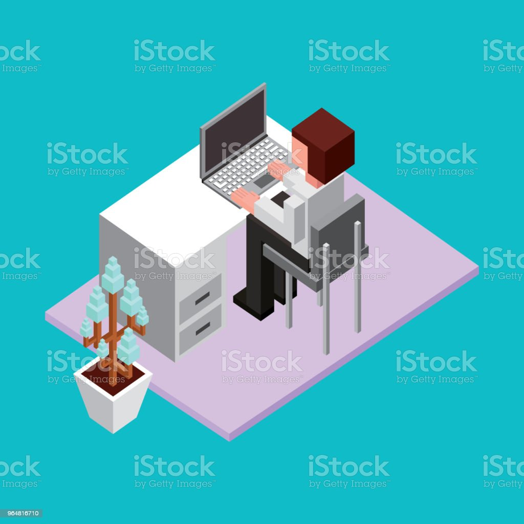 businessman sitting working in office with laptop isometric royalty-free businessman sitting working in office with laptop isometric stock vector art & more images of adult