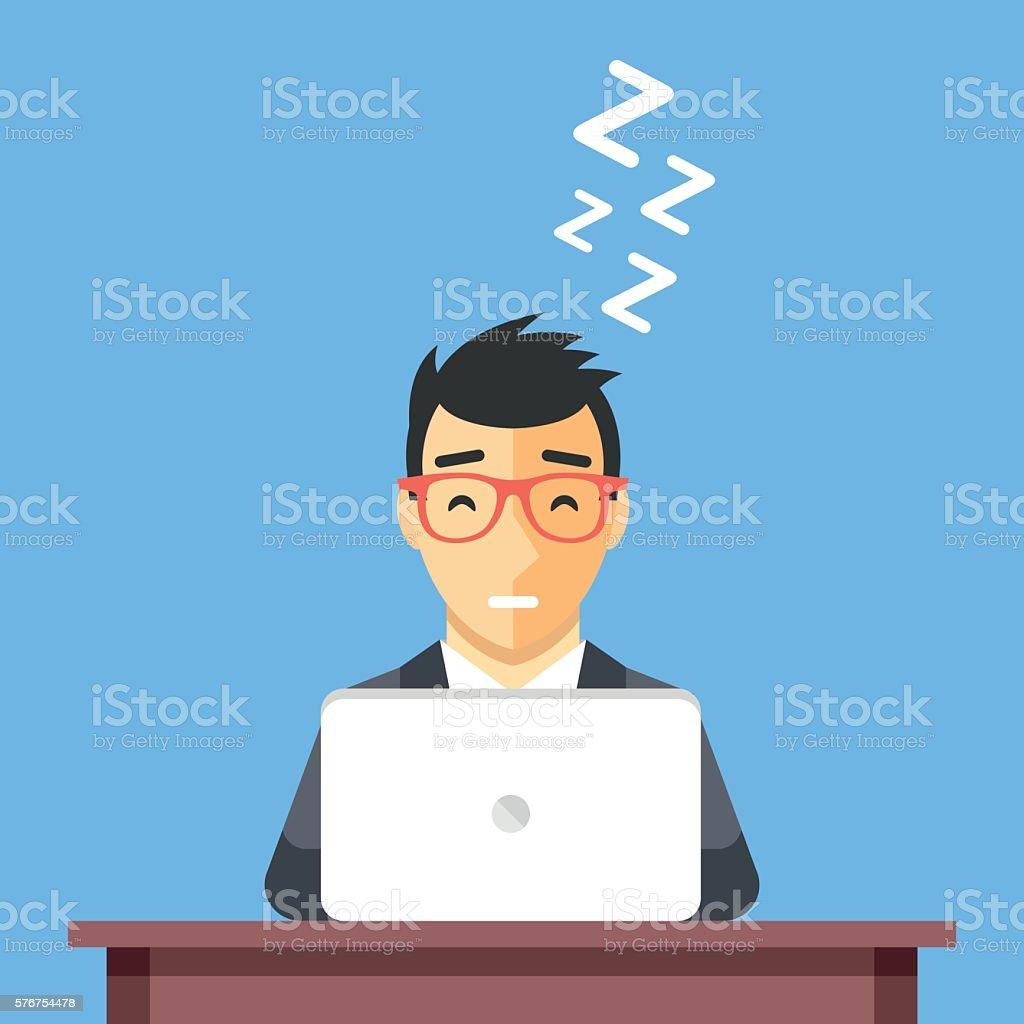 Businessman sleeping at work. Man asleep at desk. Flat illustration vector art illustration