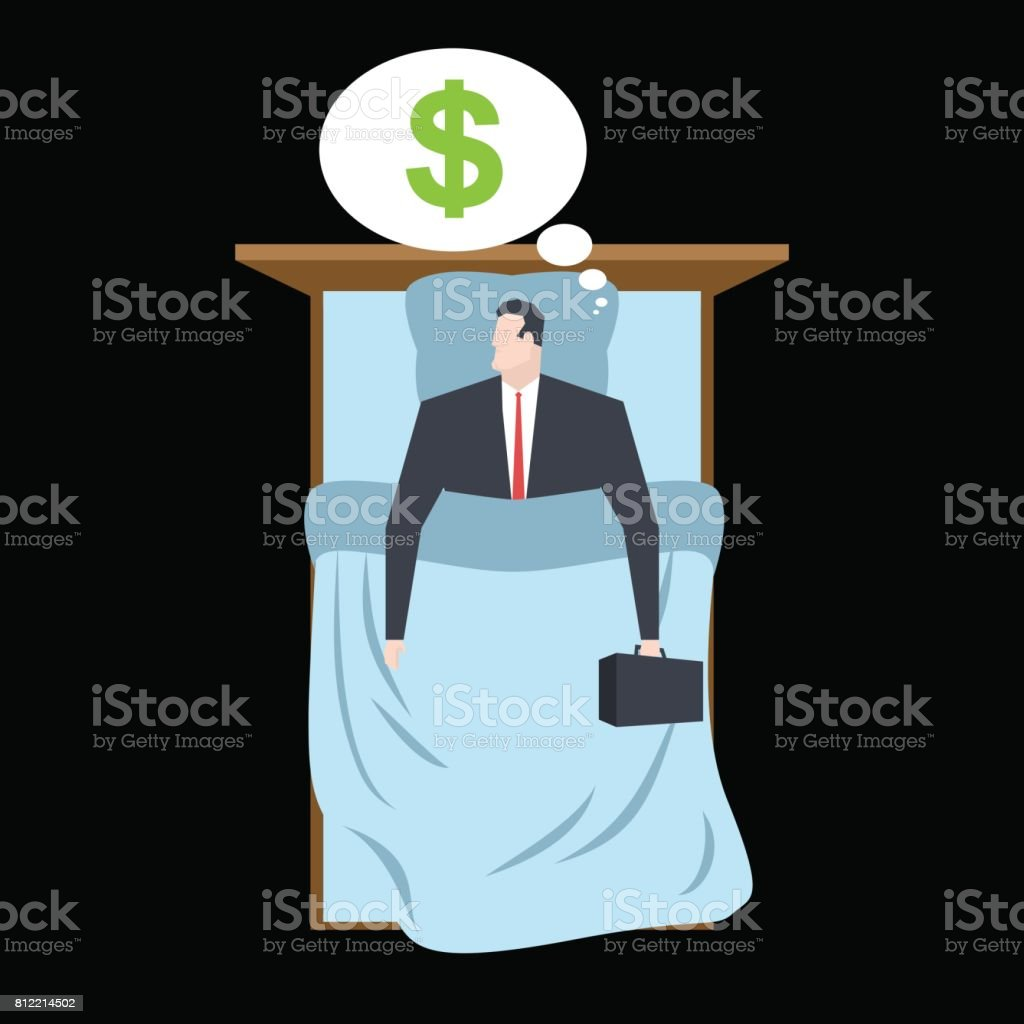 Businessman sleeping in bed Sleep money. Manager rests. Business sleep vector art illustration