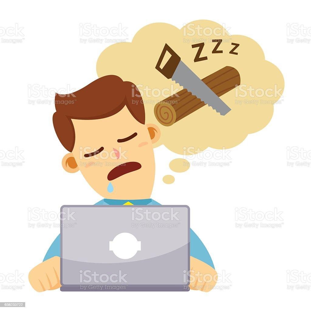 Businessman Sleeping In Front of Laptop vector art illustration