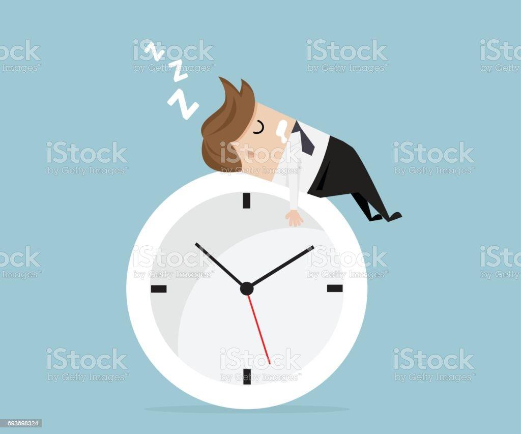 businessman sleeping on clock vector art illustration