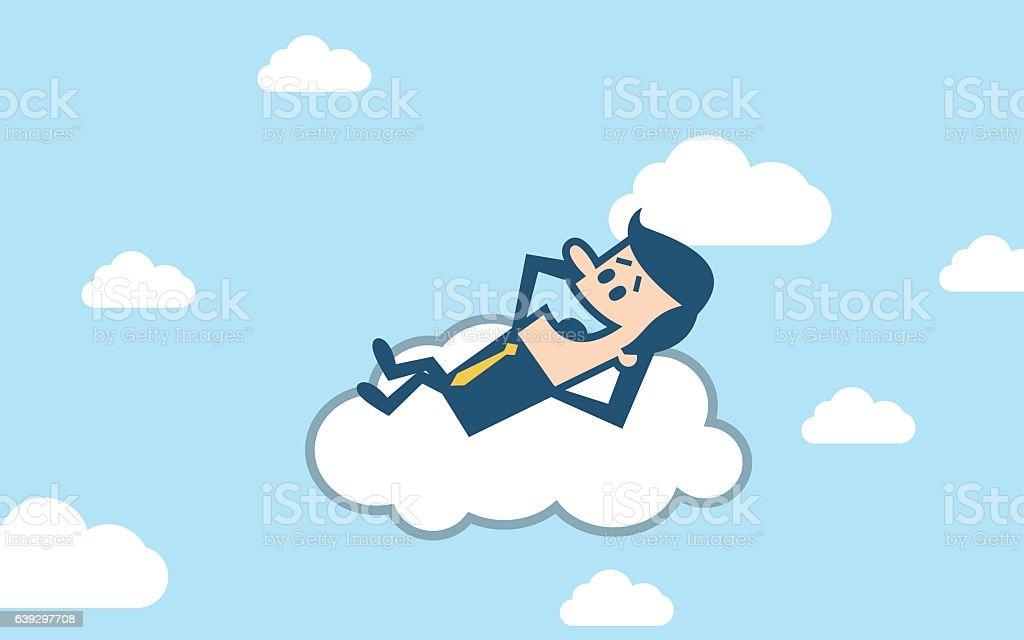 Businessman sleeping on cloud vector art illustration