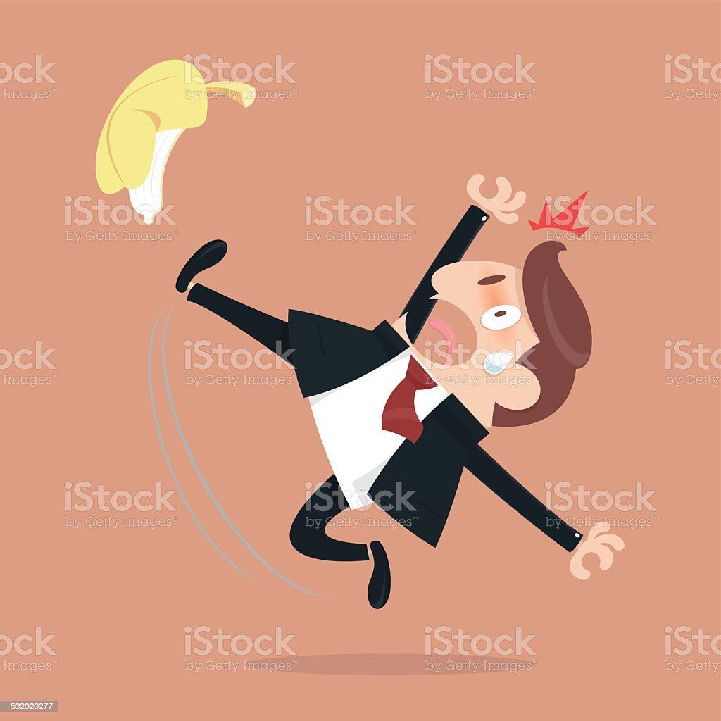 Businessman slipping vector art illustration