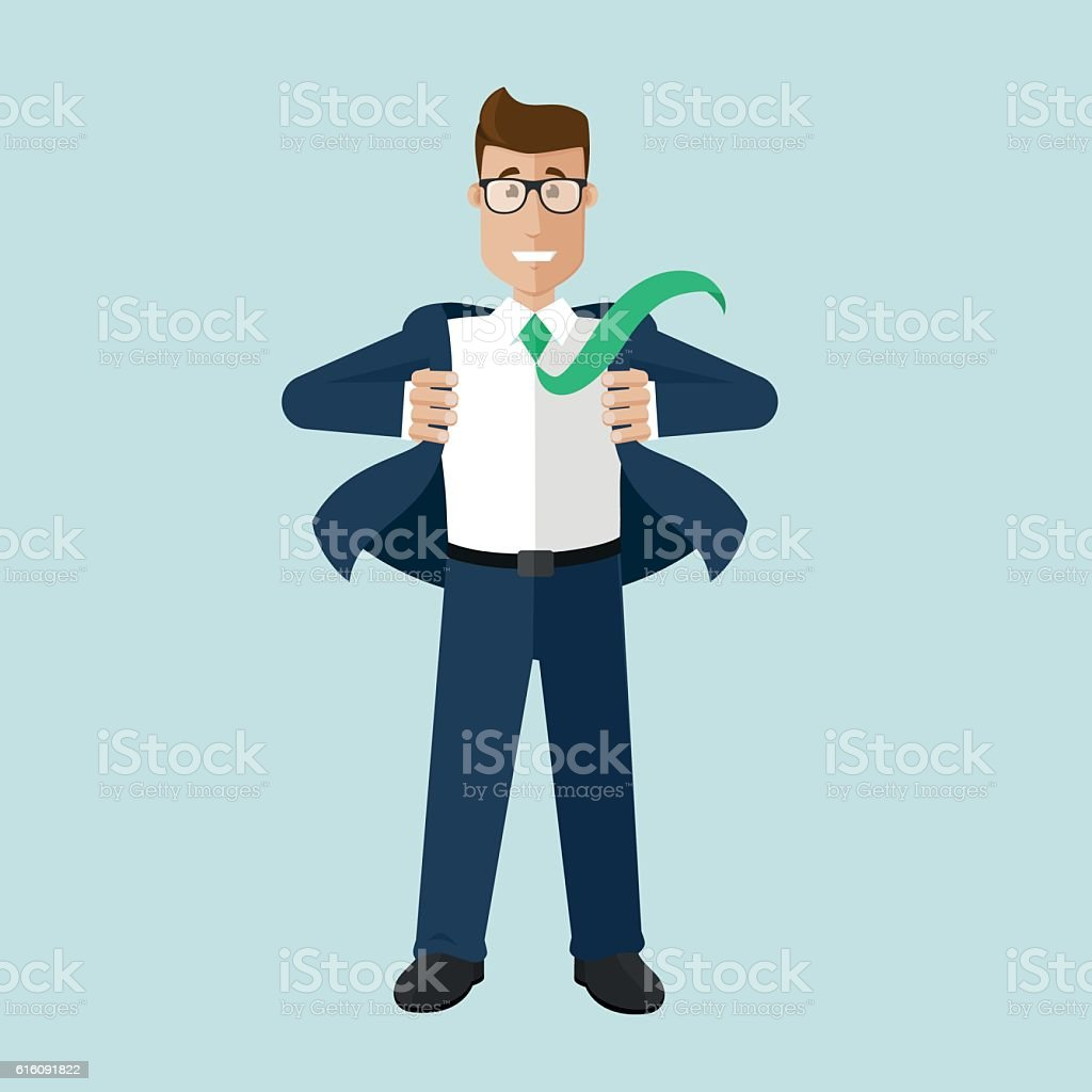Businessman smile and seems recovered vector art illustration