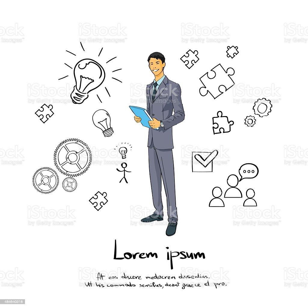 Businessman Smile, Full Length Business Man Flat vector art illustration