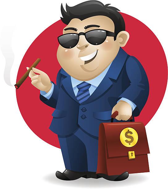 businessman smoking cigar and holds suitcase - old man smoking cigar stock illustrations, clip art, cartoons, & icons