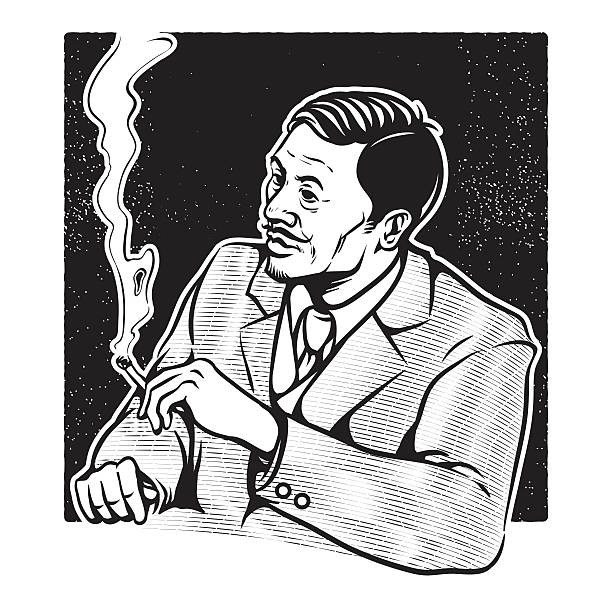 stockillustraties, clipart, cartoons en iconen met businessman smoking - guy with cigar