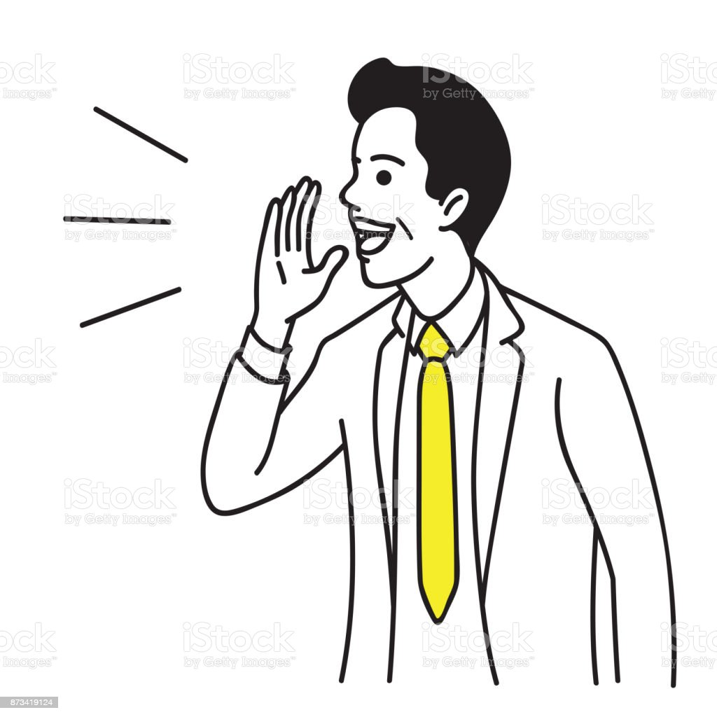 Businessman speaking with hand hold up vector art illustration