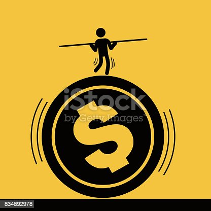 istock Businessman staged acrobatics on the dollar coin 834892978