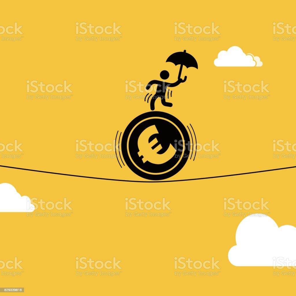 Homme d'affaires mis en scène des acrobaties sur la pièce de monnaie euro - Illustration vectorielle