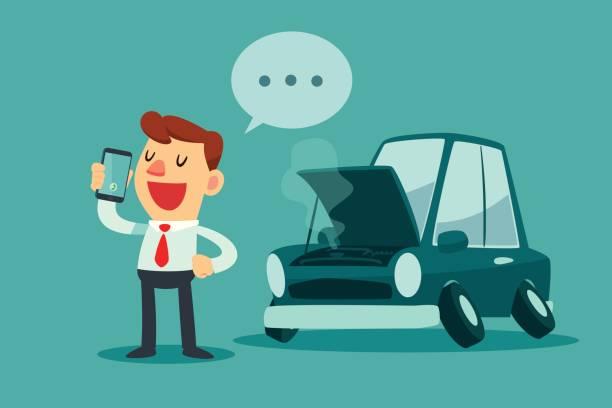 Geschäftsmann stand neben seinem kaputten Auto und Auto-Service aufrufen – Vektorgrafik