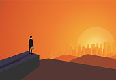 Business vision concept, Businessman stand on cliff look at success in the city. Illustration vector flat