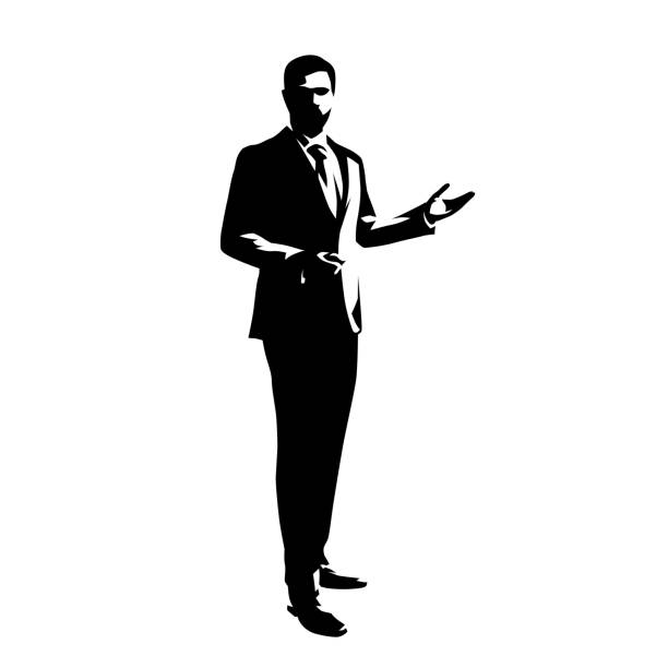 illustrazioni stock, clip art, cartoni animati e icone di tendenza di businessman standing  and presenting ideas, isolated vector silhouette. abstract ink drawing od man in suit. business people, front view - completo