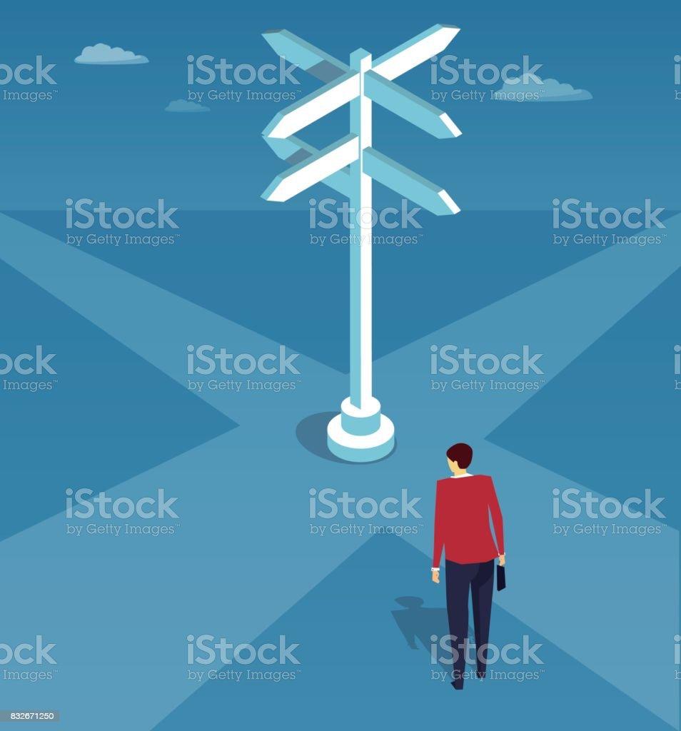A businessman standing at a crossroads vector art illustration