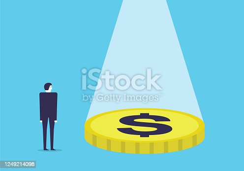 istock Businessman standing at a large sum of money 1249214098