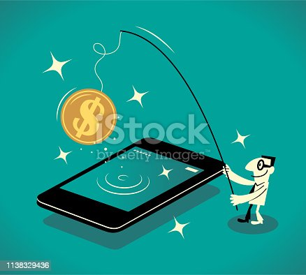 Business Man Characters with Glasses Manga Style Cartoon Vector art illustration. Businessman standing at the big smart phone and fishing catching a big dollar sign gold currency coin.