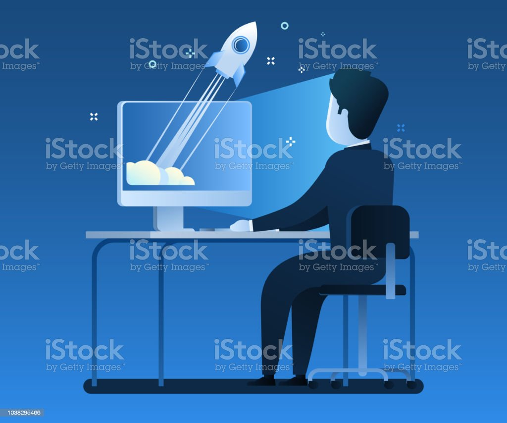 Businessman standing by the desk with a laptop, a rocket is starting from the laptop. Business startup concept. Successful launch of Internet project vector art illustration