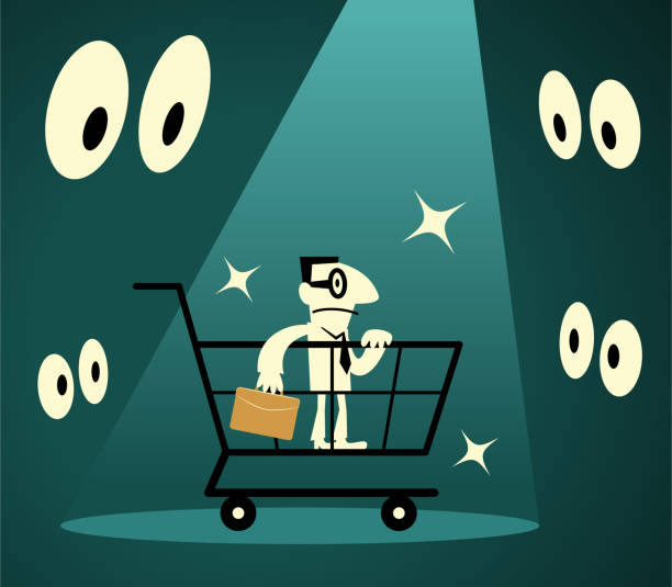 Businessman standing in a shopping cart lit by a spotlight surrounded by eyes Businessman Characters Vector Art Illustration. Full Length. Businessman standing in a shopping cart lit by a spotlight surrounded by eyes. human trafficking stock illustrations
