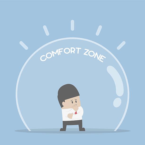 ilustraciones, imágenes clip art, dibujos animados e iconos de stock de businessman standing in comfort zone - comfortable