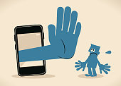 Blue Little Guy Characters Vector art illustration.Copy Space. Businessman standing in front of a big smart phone, a big hand from the mobile phone making stop gesture.