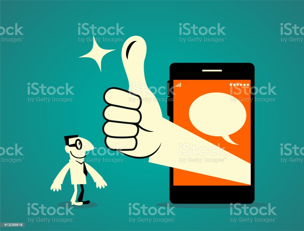 Businessman standing in front of a big smart phone, big hand out from the mobile phone with thumbs up gesture (Good! Great!) vector art illustration