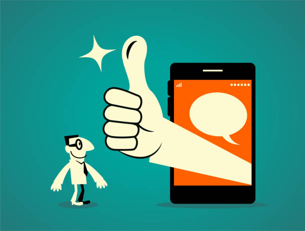 Businessman standing in front of a big smart phone, big hand out from the mobile phone with thumbs up gesture (Good! Great!) Businessman Characters Vector art illustration.Copy Space, Full Length, White Background. good news stock illustrations